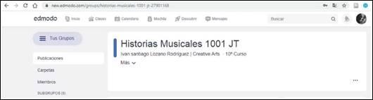 Grupo de Edmodo de Historias Musicales