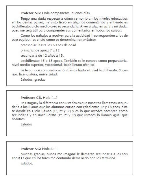 """Extracto de la participación en el foro Sobre la Actividad 1"""": profesores NG (mexicano) y CP (uruguaya)"""