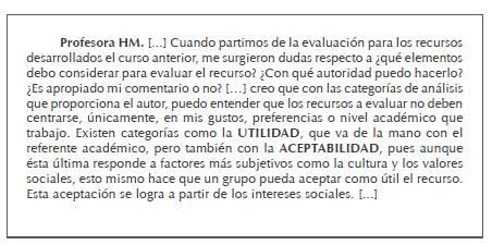 """Extracto de la participación en el foro """"Reflexiones sobre las herramientas teóricas"""": profesora HM (mexicana)"""