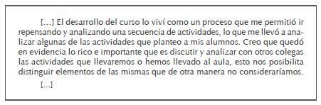 """Extracto de la participación en el foro """"Reflexiones finales"""": profesora CP (uruguaya)"""