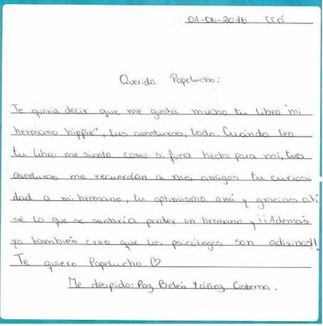 Carta elaborada por estudiante a Papelucho.