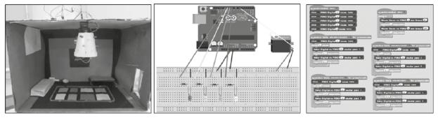 Trabalho do Grupo 3. Da esquerda para a direita: maquete física; esquema da ligação dos LED e servo motor na Placa Arduino; programação realizada no Scratch.