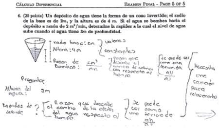 Argumentación de estudiante en la solución de ejercicio relacionado con la derivada como razón de cambio.