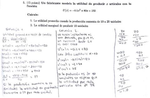 Solución por parte de estudiante a ejercicio relacionado con la derivada como cociente incremental.