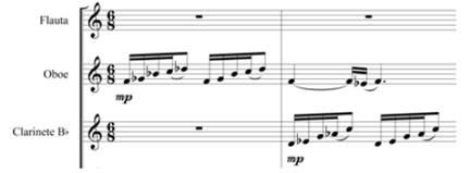 Merengón, introducción, oboe y clarinete. Compases 1-2