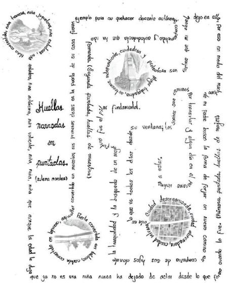 """Cartografía """"Huellas narradas en puntadas"""" (en proceso). Elaboración de Mafer Morales."""