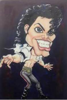 Sin título. En este ejemplo de caricatura fisionómica del ícono del pop Michael Jackson vemos el estudio, el análisis y la exageración de las facciones del personaje creado, pero también por el hecho de ser un personaje icónico nos remonta a una historia, es decir, las caricaturas llevan siempre a pensar un contexto en sí.